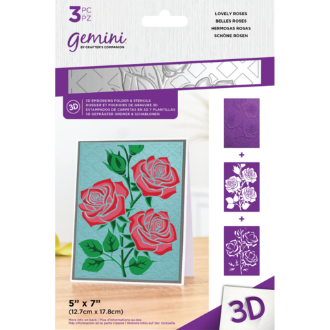 Gemini - 3D Embossing Folder & Stencils, Lovely Roses