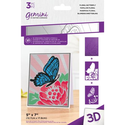 Gemini - 3D Embossing Folder & Stencils, Floral Butterfly