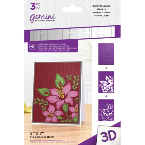 Gemini - 3D Embossing Folder & Stencils, Beautiful Lilies