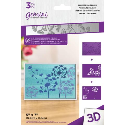 Gemini - 3D Embossing Folder & Stencils, Delicate Dandelions