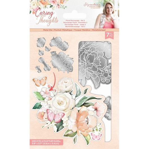 Crafter`s Companion - Sara Signature Collection Caring Thoughts, Stanssisetti, Floral Decoupage Set 2