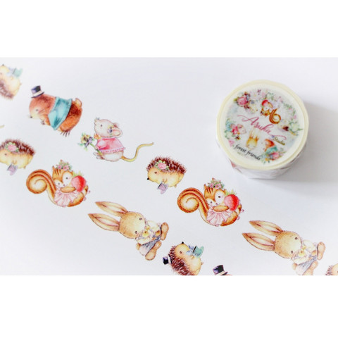 Memory Place - Forest Friends Washi Tape, 25mmx10m, Characters