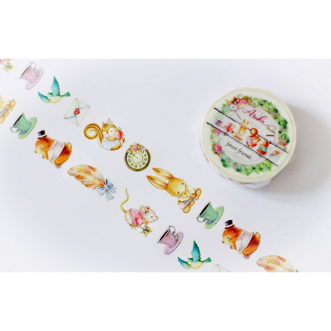 Memory Place - Forest Friends Washi Tape, 15mmx10m, Characters