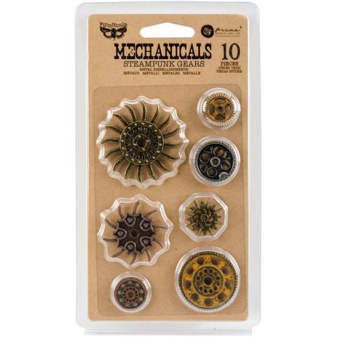 Prima Marketing - Mechanicals Metal Embellishments, Steampunk Gears, 10 osaa