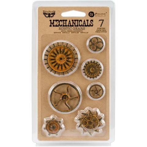 Prima Marketing - Mechanicals Metal Embellishments, Rustic Gears, 7 osaa