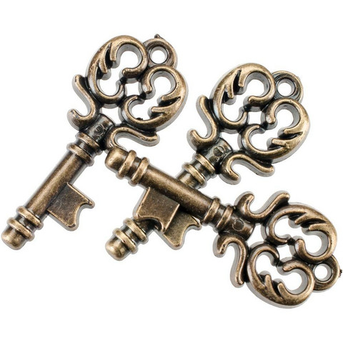 Blumenthal Steampunk Buttons - Antique Gold Key, 15 osaa