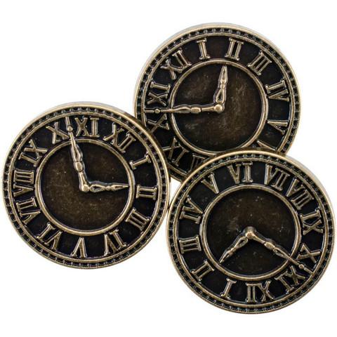 Blumenthal Steampunk Buttons - Antique Gold Clock, 8 osaa