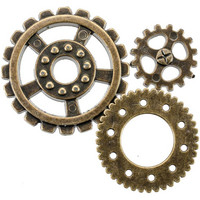 Blumenthal Steampunk Buttons - Antique Gold Gear, 20 osaa
