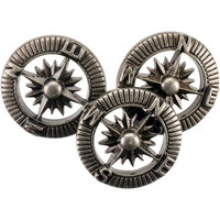 Blumenthal Steampunk Buttons - Antique Silver Compass, 9 osaa