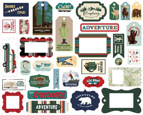 Carta Bella - Outdoor Adventures Frames & Tags, Leikekuvia, 33 kpl