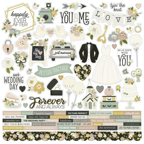 Simple Stories - Happily Ever After Cardstock Stickers, 12