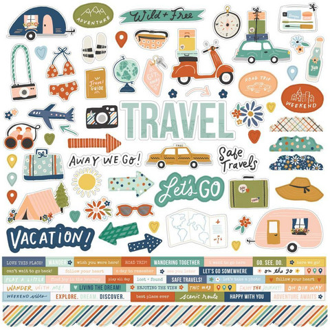Simple Stories - Safe Travels Cardstock Stickers, 12