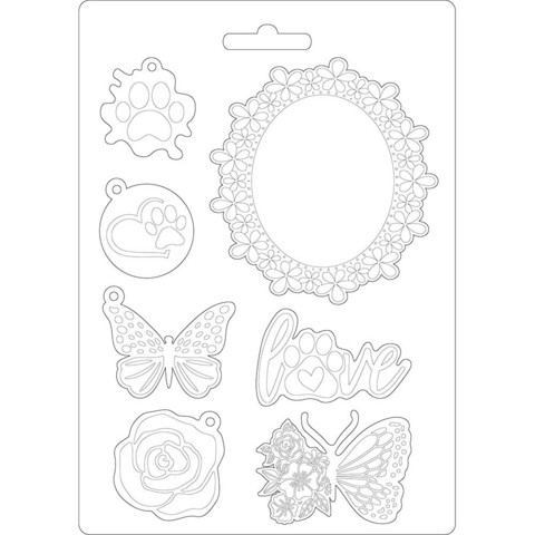 Stamperia - Soft Mould, Circle of Love, Muotti, A5, Frame and Butterfly
