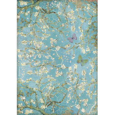Stamperia - Atelier, Rice Paper, A4, Blossom Blue Background with Butterfly