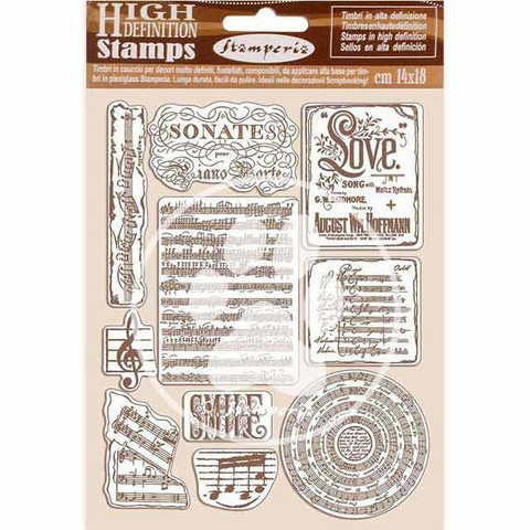 Stamperia - Passion, Natural Rubber Stamp, Leimasetti, Music