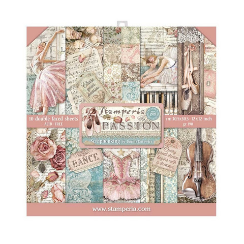 Stamperia - Passion, Paper Pack 12