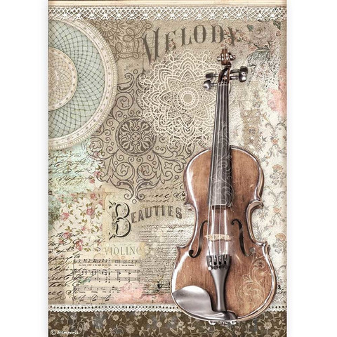 Stamperia - Passion, Rice Paper, A4, Violin