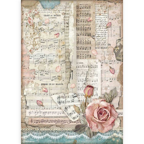 Stamperia - Passion, Rice Paper, A4, Roses And Music