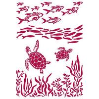 Stamperia - Romantic Sea Dream, Stencil A4, Fish and Turtles