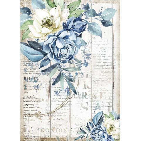 Stamperia - Romantic Sea Dream, Rice Paper, A4, Blue Flower