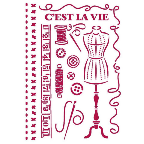 Stamperia - Romantic Threads, Stencil A4, Couture