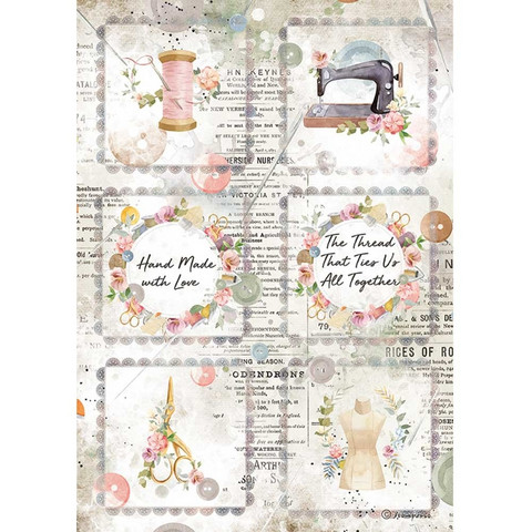 Stamperia - Romantic Threads, Rice Paper, A4, Mini Cards