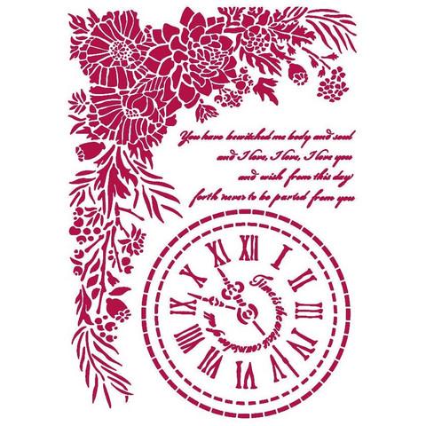 Stamperia - Romantic Journal, Stencil A4, Clock