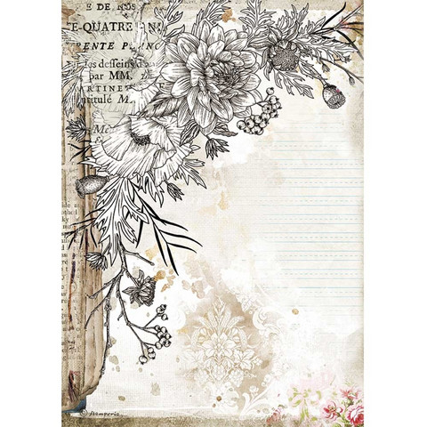 Stamperia - Romantic Journal, Rice Paper, A4, Stylized Flower