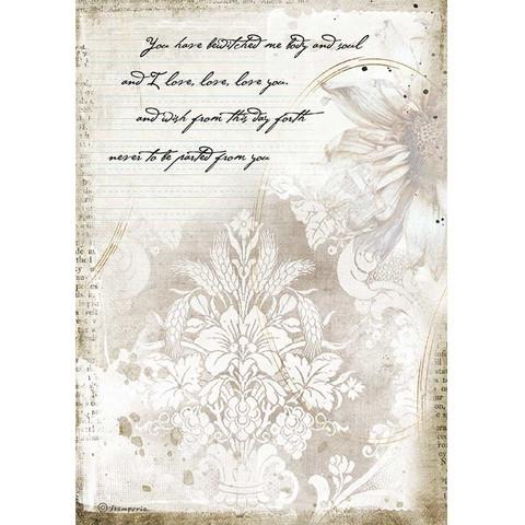 Stamperia - Romantic Journal, Rice Paper, A4, Manuscrips