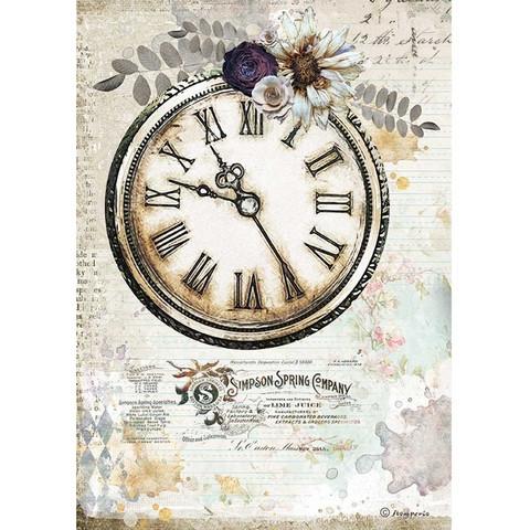 Stamperia - Romantic Journal, Rice Paper, A4, Clock
