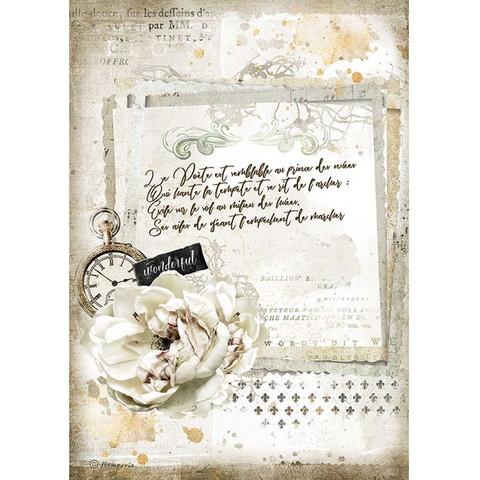 Stamperia - Romantic Journal, Rice Paper, A4, Manuscript and Clock