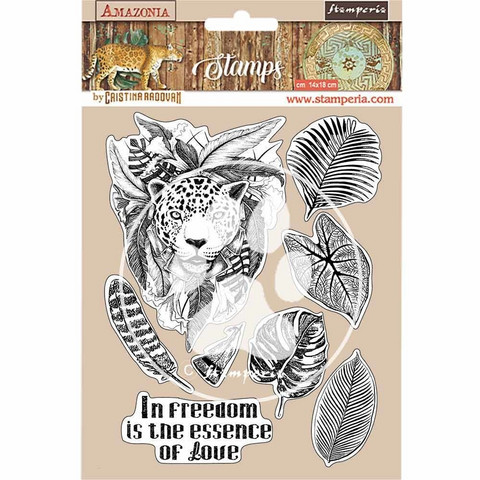 Stamperia - Amazonia, Rubber Stamp, Leimasetti, Jaguar