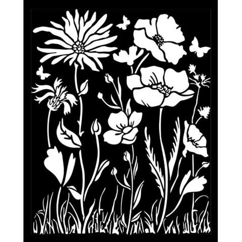 Stamperia - Atelier, Stencil 20x25cm, Poppy and Flower
