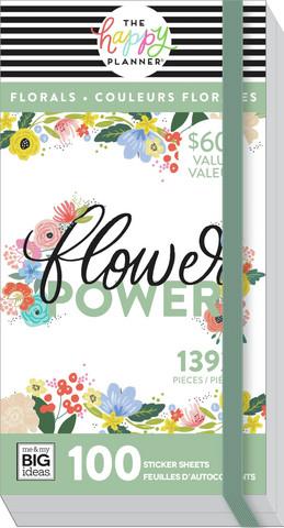MAMBI - Happy Planner, Mega Value Pack Stickers, Flower Power, Tarrasetti, 100arkkia