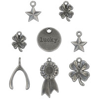 Tim Holtz - Idea-Ology Metal Adornments, Lucky, 8 kpl