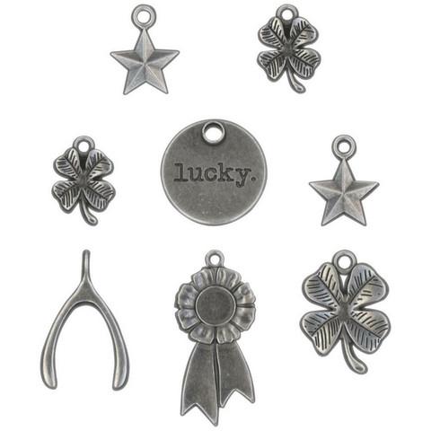 Tim Holtz - Idea-Ology Metal Adornments, Lucky, 8 kpl