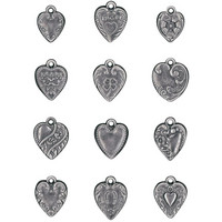 Tim Holtz - Idea-Ology Metal Adornments, Hearts, 12 kpl