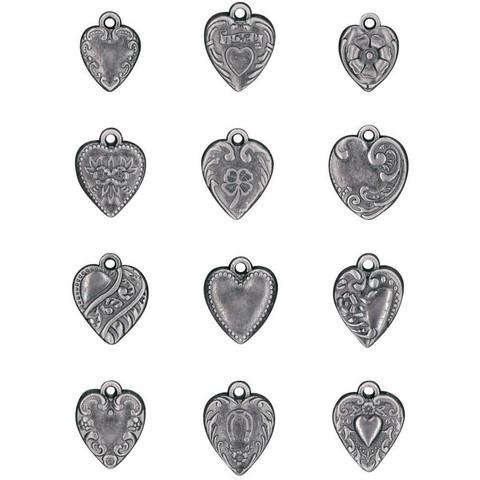 Tim Holtz - Idea-Ology Metal Adornments, Hearts, 12 kpl