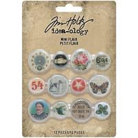 Tim Holtz - Idea-Ology Mini Flair Buttons, 12 kpl