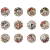Tim Holtz - Idea-Ology Quote Flair Buttons, 12 kpl