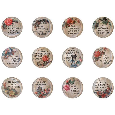 Tim Holtz - Idea-Ology Quote Flair Buttons, 12 kpl