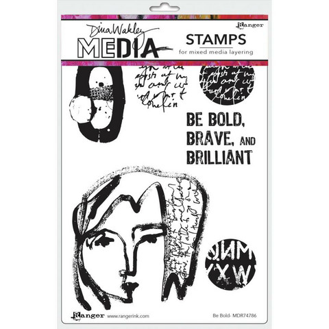 Dina Wakley Media - Cling Stamps, Be Bold, Leimasetti