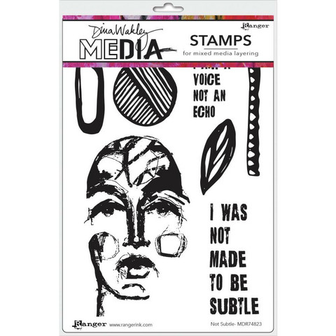 Dina Wakley Media - Cling Stamps, Not Subtle, Leimasetti