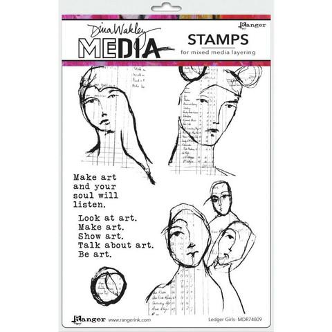 Dina Wakley Media - Cling Stamps, Ledger Girls, Leimasetti