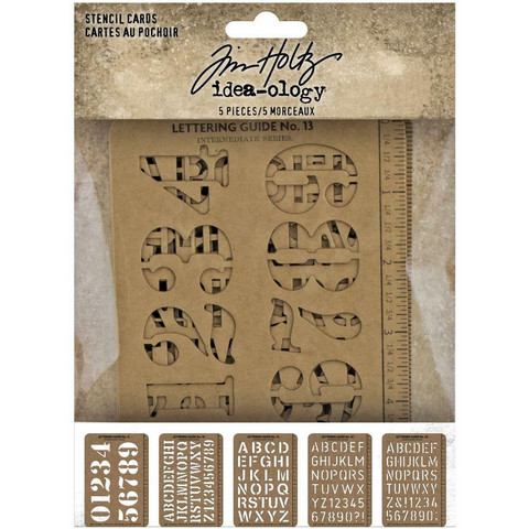 Tim Holtz - Idea-Ology Stencil Cards, 5 kpl