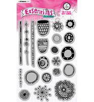 Studio Light - Art By Marlene, Cling Stamp Mix & Match Dotty Flowers, Nr.71, Leimasetti