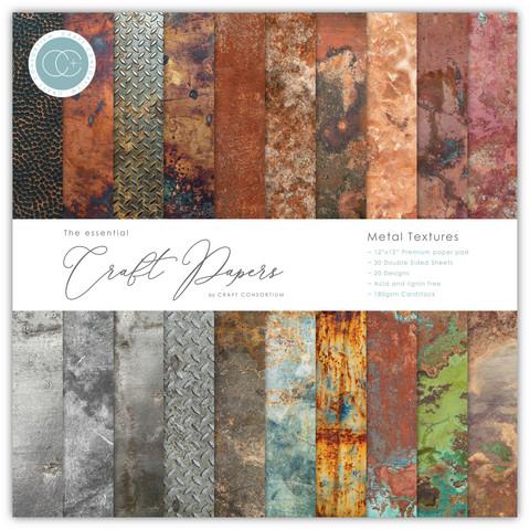 Craft Consortium - Essential Craft Papers, Metal Textures, 12