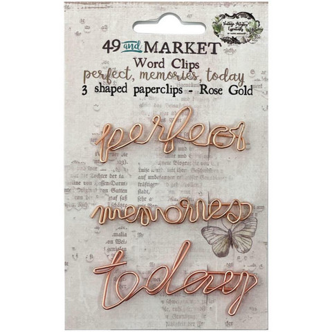 49 And Market - Foundations Word Paperclips, Perfect, Memories & Today In Rose Gold