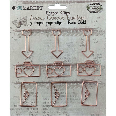 49 And Market - Foundations Word Paperclips, Arrow, Camera, Envelope In Rose Gold