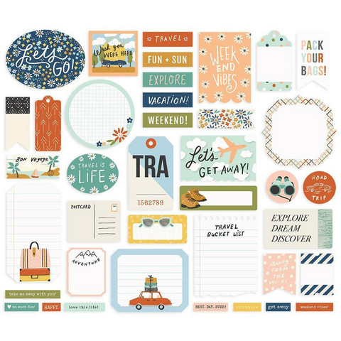 Simple Stories - Safe Travels Journal Bits & Pieces, 39 osaa